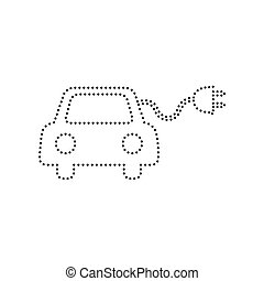 Eco electric car sign. Vector. Black dotted icon on white...