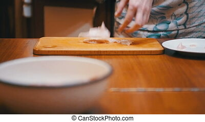 Woman Cooked Fresh Raw meat Beats on the table with Meat...