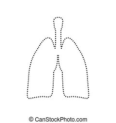 Human organs Lungs sign. Vector. Black dotted icon on white background. Isolated.
