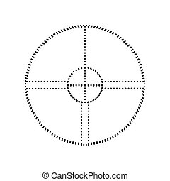 Sight sign illustration. Vector. Black dotted icon on white background. Isolated.