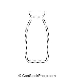 Milk bottle sign. Vector. Black dotted icon on white background. Isolated.