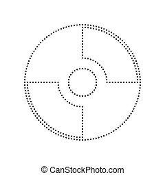 Vector CD or DVD sign. Vector. Black dotted icon on white...