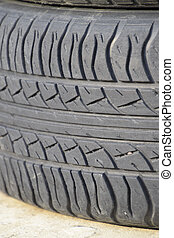 The background of the tread pattern of the car wheel. Rubber...