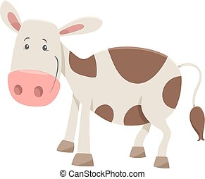 calf farm animal character - Cartoon Illustration of Calf...
