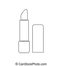 Pomade simple sign. Vector. Black dotted icon on white...