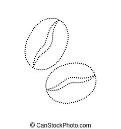 Coffee beans sign. Vector. Black dotted icon on white...