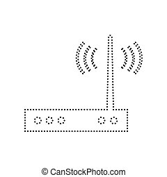 Wifi modem sign. Vector. Black dotted icon on white...