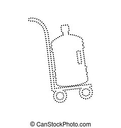Plastic bottle silhouette with water. Big bottle of water on track. Vector. Black dotted icon on white background. Isolated.