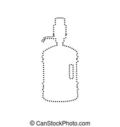 Plastic bottle silhouette with water and siphon. Vector. Black dotted icon on white background. Isolated.