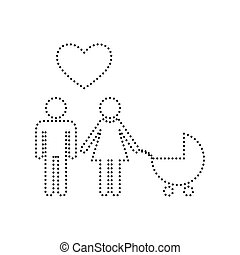 Family symbol with pram and heart. Husband and wife are kept each other`s hands. Love. Vector. Black dotted icon on white background. Isolated.