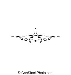 Flying Plane sign. Front view. Vector. Black dotted icon on white background. Isolated.