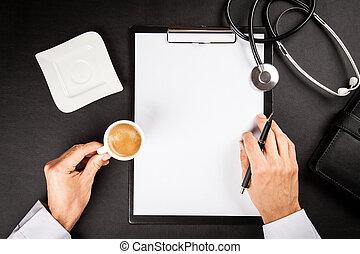 tabela, trabalhando, doutor