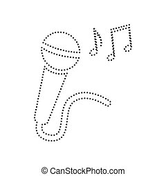 Microphone sign with music notes. Vector. Black dotted icon on white background. Isolated.