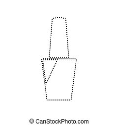 Nail polish sign. Vector. Black dotted icon on white background. Isolated.