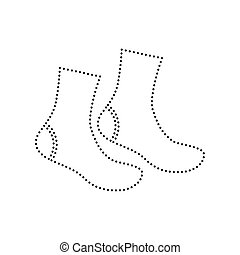 Socks sign. Vector. Black dotted icon on white background....