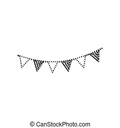 Holiday flags garlands sign. Vector. Black dotted icon on white background. Isolated.