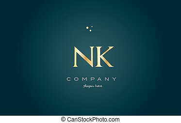 nk n k gold golden luxury alphabet letter logo icon template...
