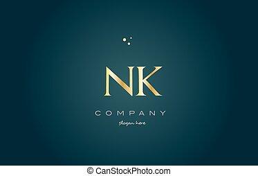 nk n k gold golden luxury alphabet letter logo icon template...