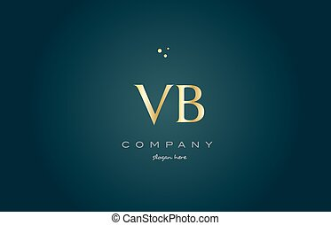 vb v b gold golden luxury alphabet letter logo icon template...