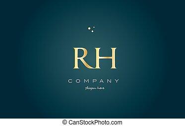 rh r h gold golden luxury alphabet letter logo icon template...