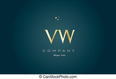 vw v w gold golden luxury alphabet letter logo icon template...