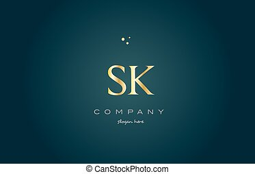 sk s k gold golden luxury alphabet letter logo icon template...