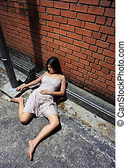 Drunkard - Asian girl is passed out in the gutter