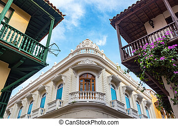 Balconies in Cartagena - Colonial balconies and blue sky in...