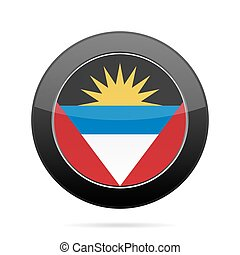 Flag of Antigua and Barbuda. Black round button.