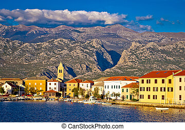 View of Town of Vinjerac with Velebit mountain background,...