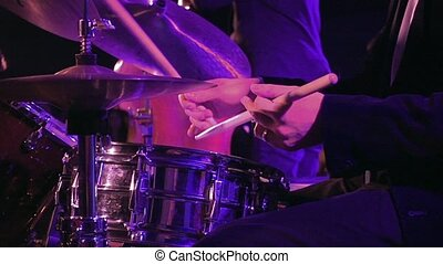 Drummer plays on drum set and cymbal slow motion - Drummer...