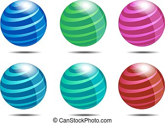 Dynamic Abstract Globe Icon in Six Colors
