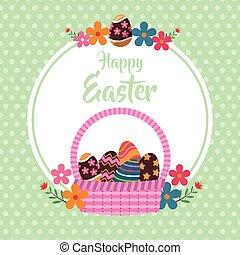 happy easter basket egg floral dots background