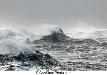 Waves and Spindrift - Rough waves at high tide at Newhaven,...