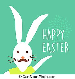 Happy Easter holiday hipster bunny card design