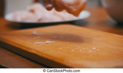 Woman Cooked Fresh Raw Chicken Meat Beats on the table with...