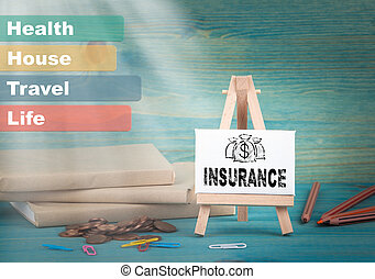 insurance, business and strategic concept. notice board by the books and money, and notifications