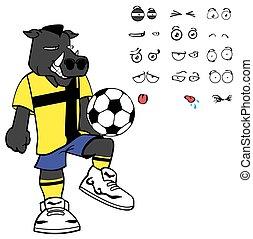 grumpy wild boar soccer cartoon expressions set - wild boar...