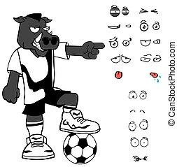annoying wild boar soccer cartoon expressions set - wild...