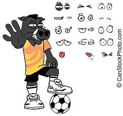stop wild boar soccer cartoon expressions set - wild boar...