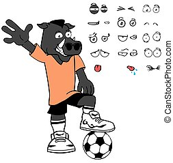 boar soccer cartoon expressions set - wild boar soccer...