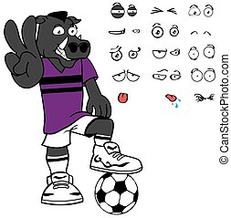 funny wild boar soccer cartoon expressions set - wild boar...