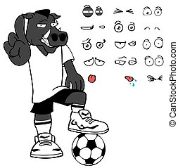 angry wild boar soccer cartoon expressions set - wild boar...