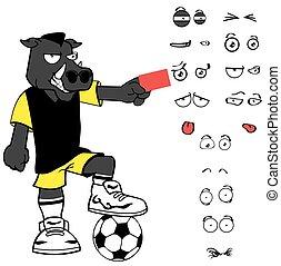 card wild boar soccer cartoon expressions set - wild boar...