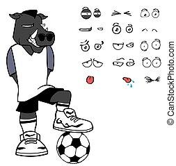 wild boar soccer cartoon expressions set in vector format