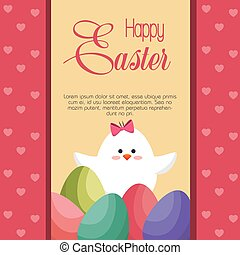 Chick coming out of the egg easter card