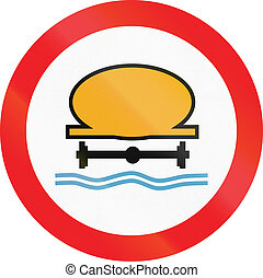 Cyprian regulatory road sign - No vehicles carrying water...