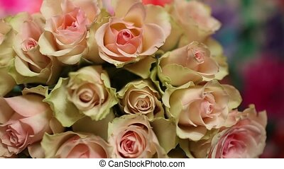 Flowers roses beautiful bouquet, background overhead view