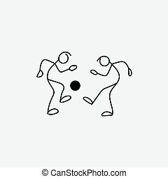 Stick figure footballers icon vector