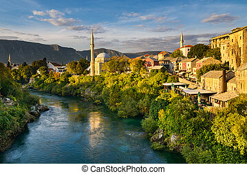 Mostar, Bosnia and Herzegovina - Old town of Mostar, Bosnia...